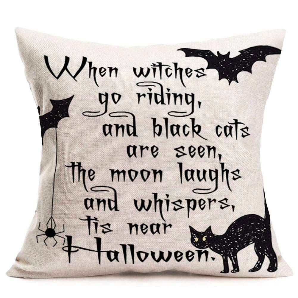 Aremetop Halloween Quotes Throw Pillow Covers Cotton Linen Horrific Halloween Saying with Witch Black Cats Bat Spider Design Throw Pillow Case Decorative Cushion Cover 18''x18'' for Sofa Bed