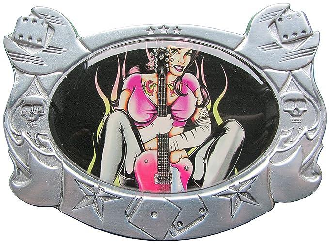 Boucle Fille Avec La Guitare Et Guitare Electrique Rock N Roll
