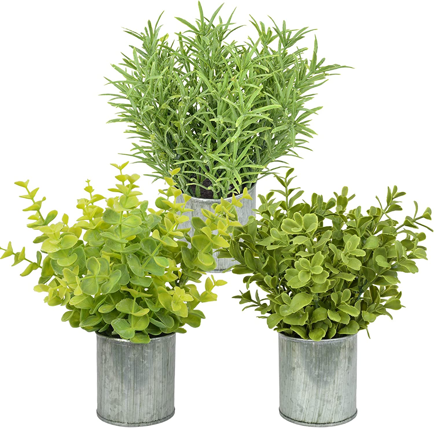 3 Pack Mini Galvanized Metal Potted Fake Plants Artificial Eucalyptus Boxwood Rosemary Plants, Rustic Farmhouse Home Decor, Centerpieces for Dining Room Table.