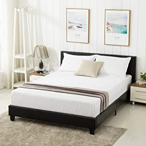 Mecor Queen Bed Frame - Faux Leather Upholstered Bonded Platform Bed/Panel Bed - with