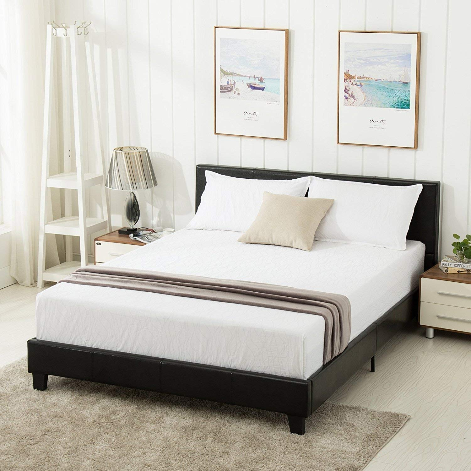 Queen Bed.Mecor Queen Bed Frame Faux Leather Upholstered Bonded Platform Bed Panel Bed With Headboard No Box Spring Needed For Adults Teens