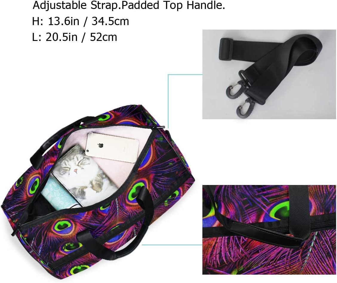 FANTAZIO Purple Peacock Feathers Sports Duffle Bag Gym Bag Travel Duffel with Adjustable Strap