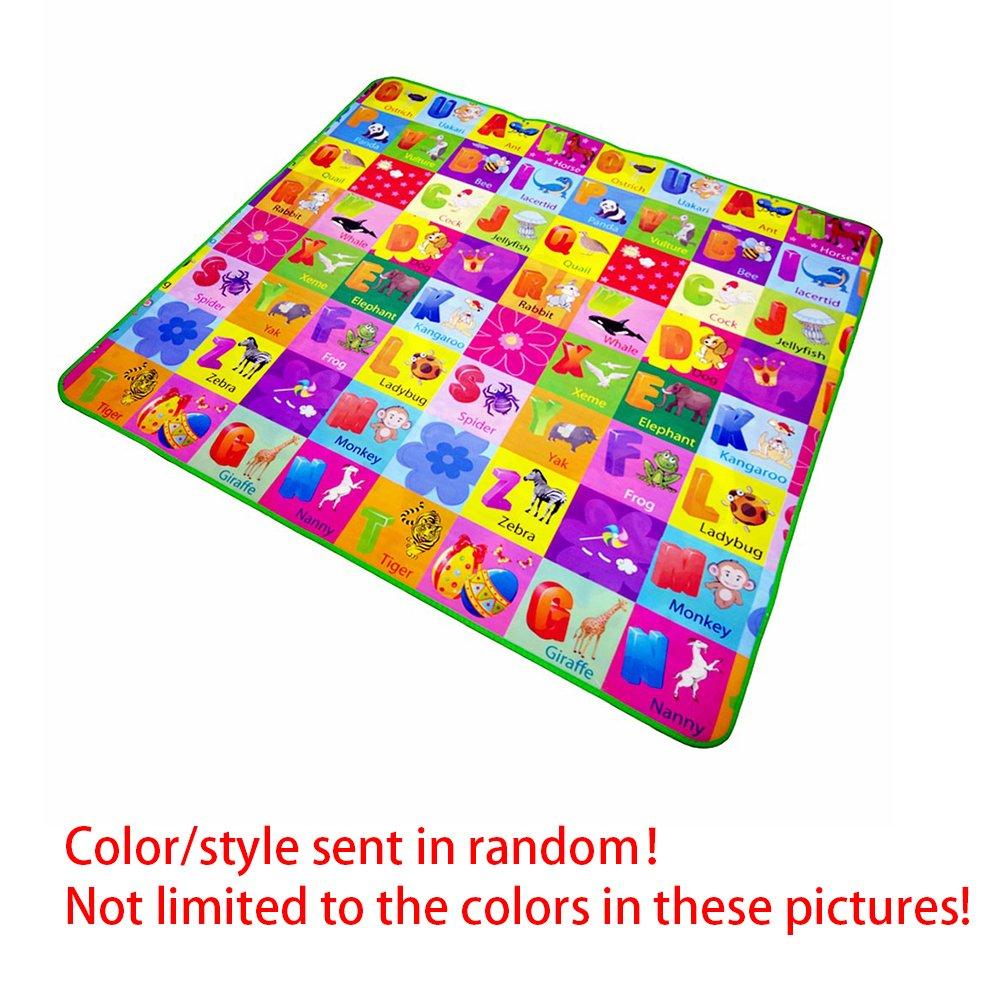 Alfombra de juegos para bebé, con frutas, letras, granja, etc., de doble cara plegable Talla:1.2x1.8m Woopower
