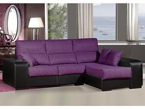 Sofa chaiselongue ,medida 275 Tapizado similpiel y tela (Morado y Negro)