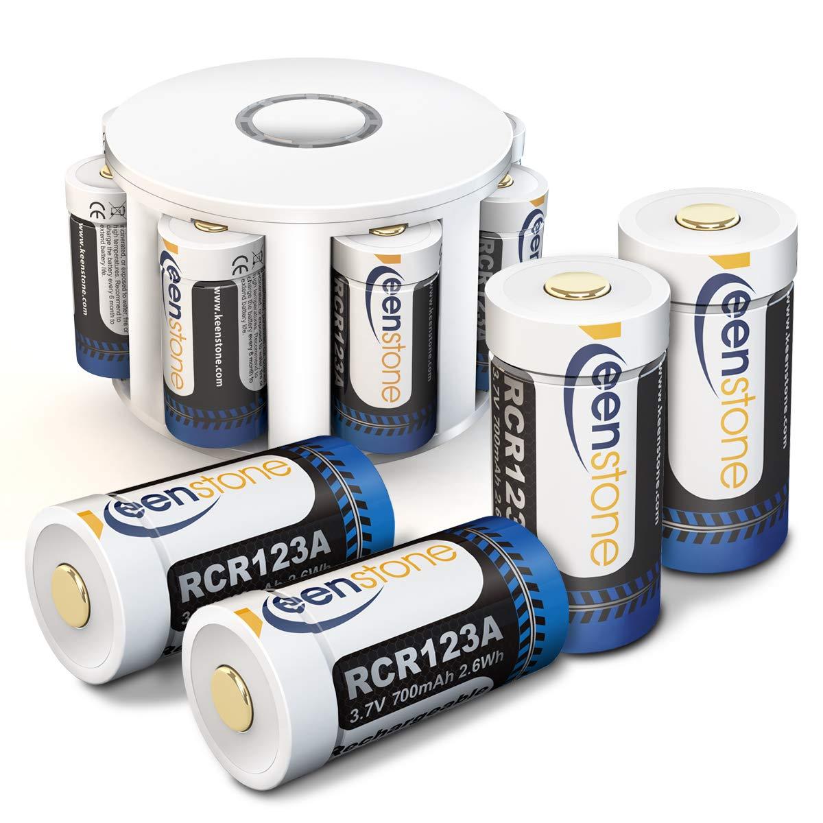 Arlo Kamera Akku 8 Stücke, Keenstone RCR123A 3.7V 700mAh Wiederaufladbare Li-ion Batterien, mit 2 Silikon Hüllen für Kamera und Batterie Gehäuse für Arlo Überwachungskamera VMC3030/3230/3330/3430