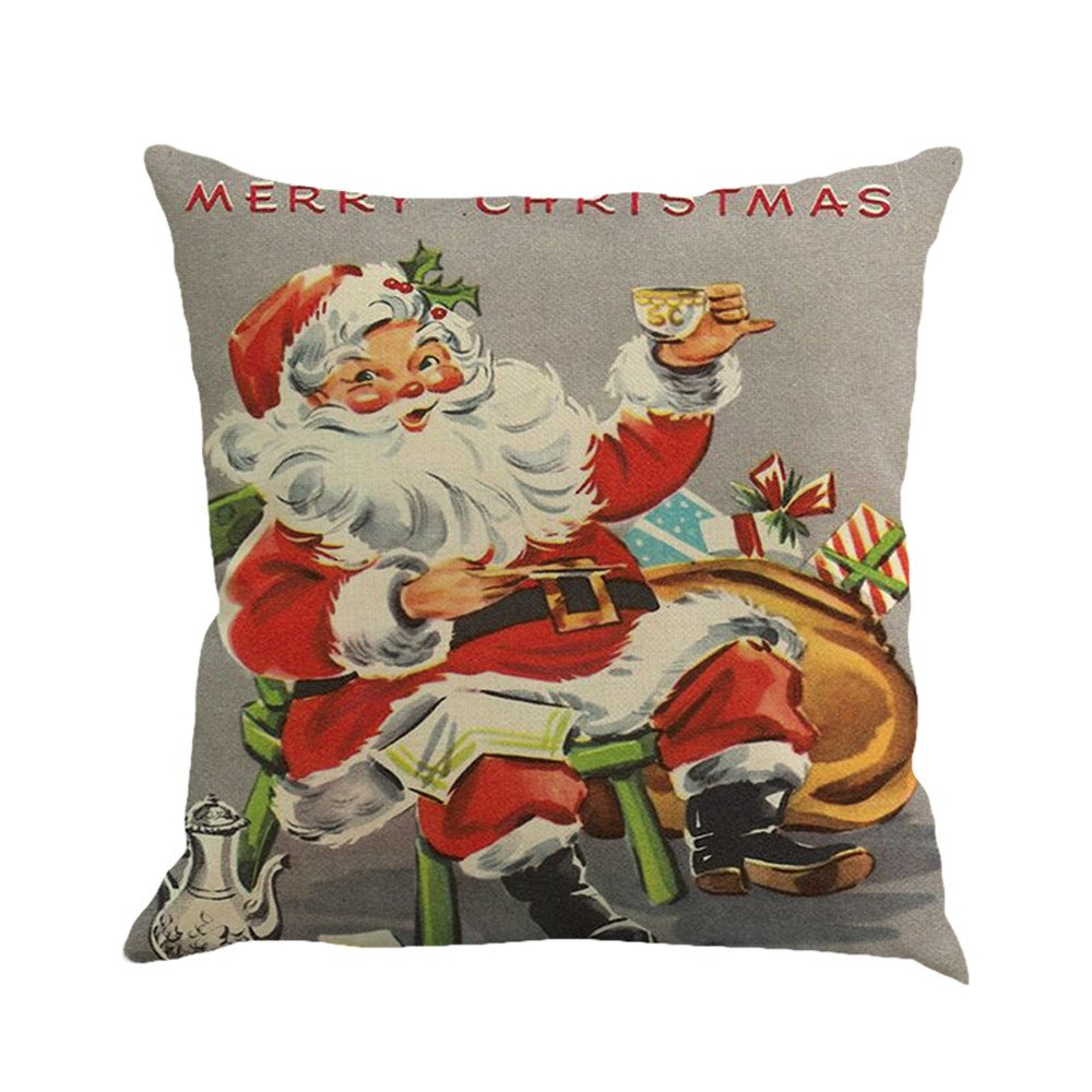 OWMEOT Christmas Printing Dyeing Pillow Cover Sofa Bed Home Decor Cushion Cover 1818 Inch (Multicolor, B)