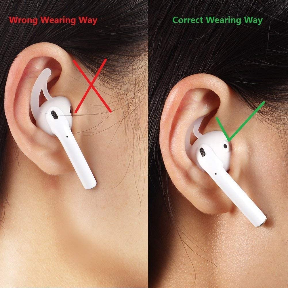 Beam Electronics Ear Hooks Covers Accessories Tips Compatible in Apple AirPods EarPods Headphones/Earphones/Earbuds [Secure Fit, Anti-Slip Guaranteed] [Built Adventure] (Clear) (4 Pairs)