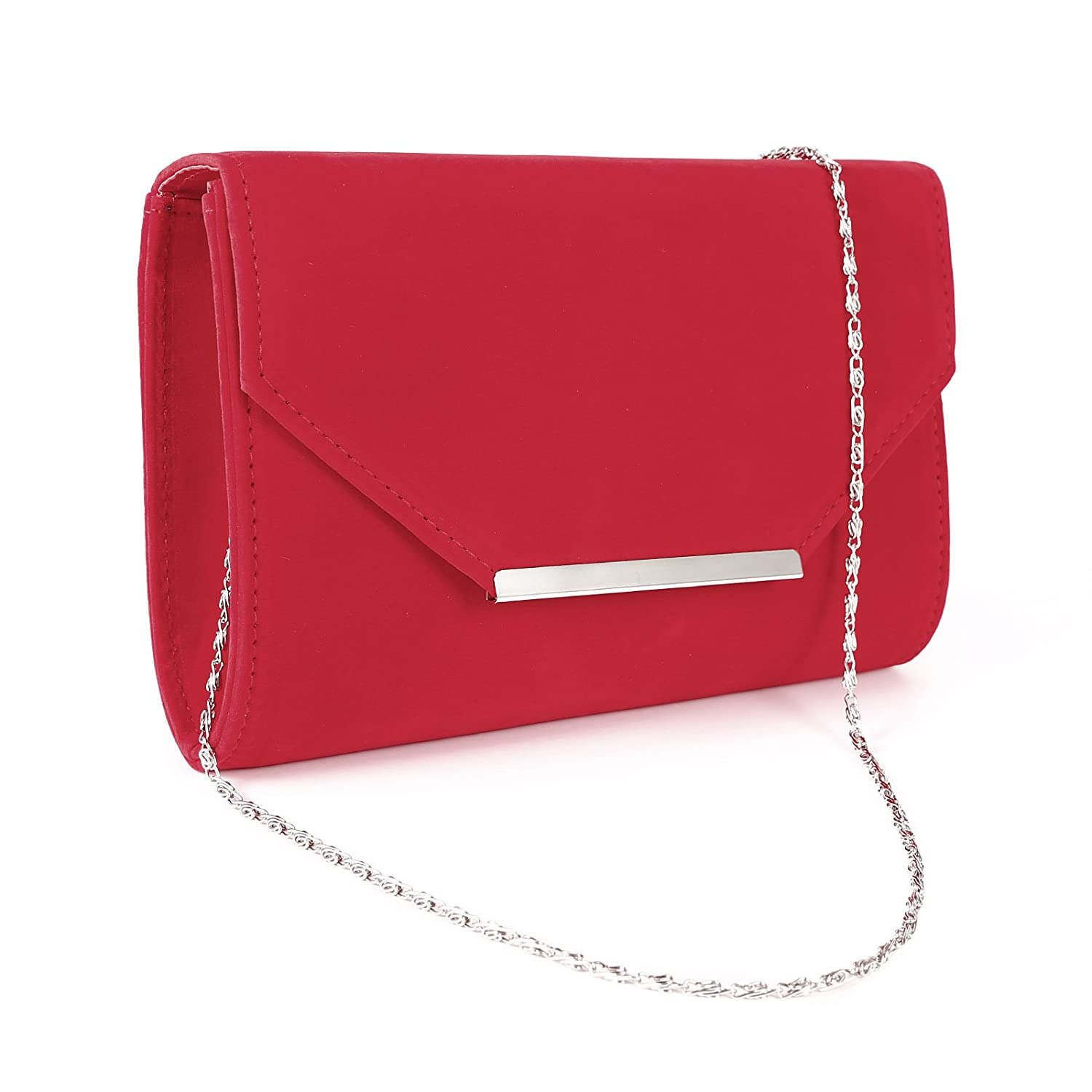 Anladia Envelope Flap-Top Silver-Tone Metal Bar Velvet Clutch Women Chain Strap Handbag