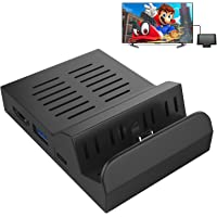MoKo Type-C to HDMI Adapter for Nintendo Switch, Replacement Dock with Electronic Chip, Built-in 3 USB Ports, Portable Heat Dissipation Charging Dock Mount Case for Nintendo Switch - Black