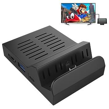 MoKo Nintendo Switch Dock,Base de carga portátil Switch Dock reemplazo de disipación calor, Base de acoplamiento de carga con 3 puerto USB y adaptador ...