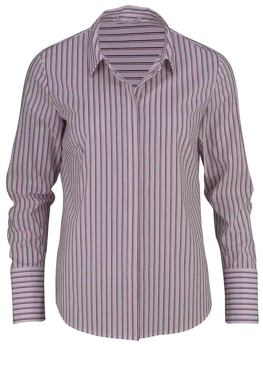 ab3a46621be8 Boss Business Langarm Bluse BANEW1 Hemdkragen Streifen rot  Amazon.de   Bekleidung