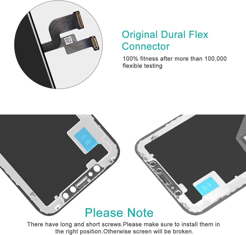 Beefix Ecran pour iPhone XR Noir 6.1 LCD /Écran Tactile Digitizer Assembly avec Kit De R/éparation Complet et Protecteur D/écran Pas pour X//XS