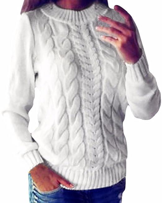 ZANZEA Mujer Jersey Suéter Invierno Crochet Elegante Mangas Largas ...