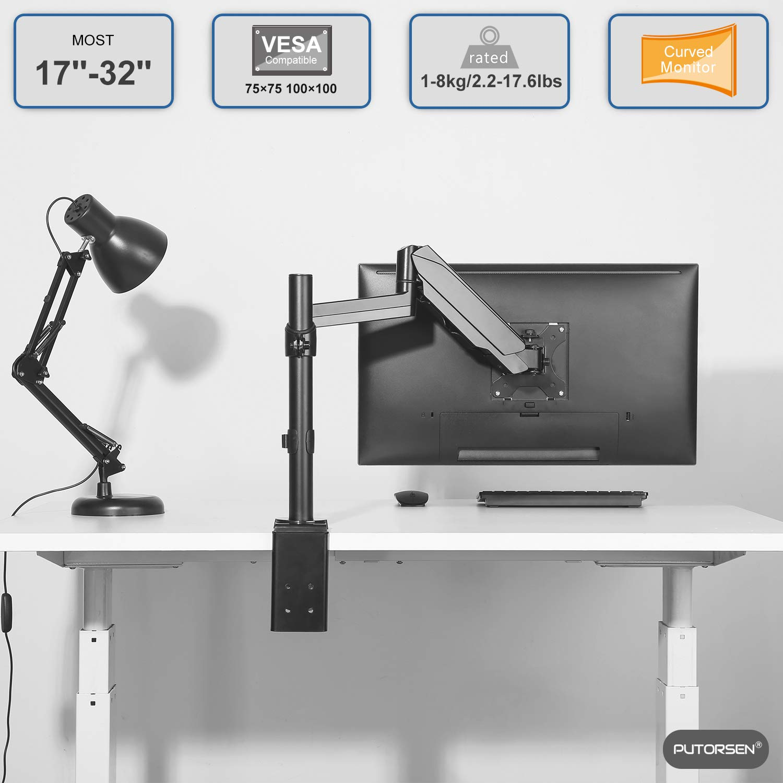 """Aluminio PUTORSEN/® Soporte de Escritorio para Monitor de Las Pantallas de TV Capacidad de Carga es 8kg Brazo de Monitor con Resorte de Mec/ánico LCD y computadora de17/""""-32/""""//43-81cm"""