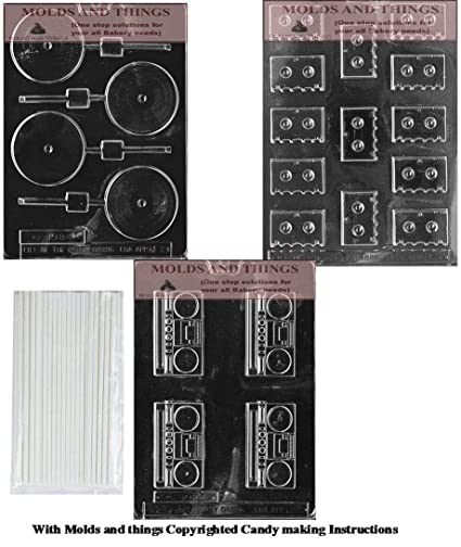 MOLDS AND THINGS Cassettes Chocolate Candy Mold, Plain Record Lolly Chocolate Candy Mold, Radio