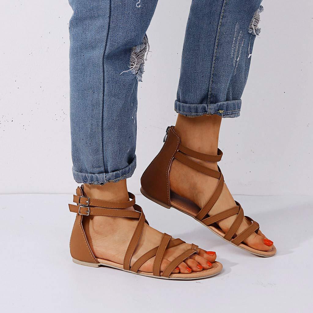 Women Gladiator Sandals Summer Leather Flat Flip Flops Sandals Cross Strap Buckle Zip Sandals Casual Outdoor Roman Shoes for Women /& Girls