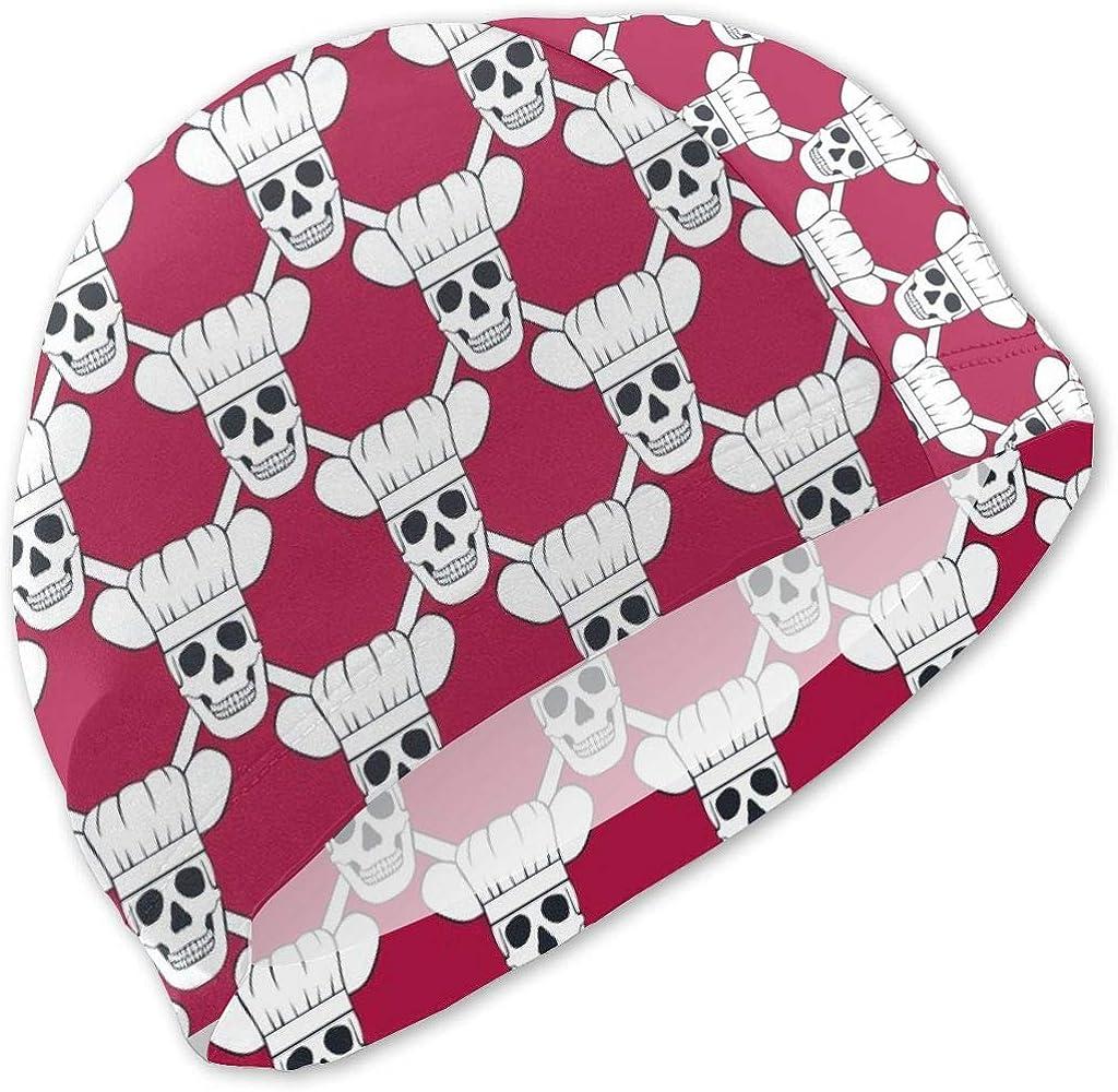 Fun Life Art Chef Skull - Gorras de natación pequeñas y Rojas ...