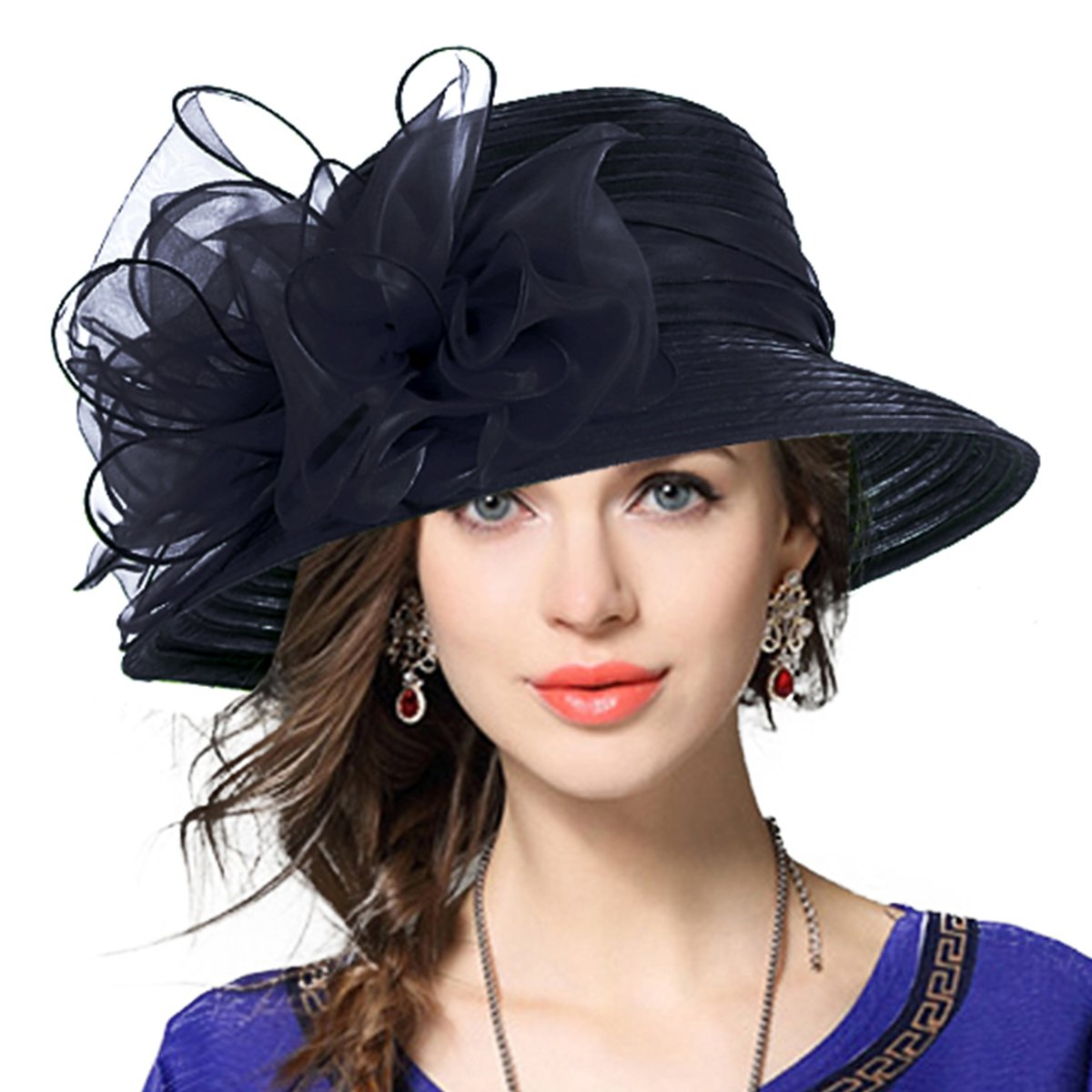 Lady Derby Dress Church Cloche Hat Bow Bucket Wedding Bowler Hats (Black, Medium)