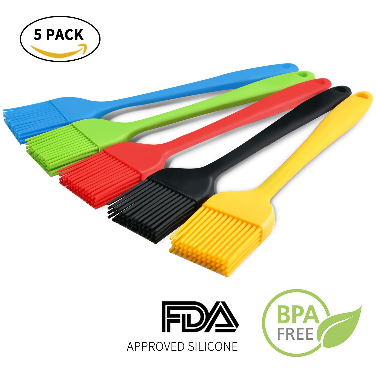 GUGULE Silicone Basting Brushes, Pastry Brushes Heat Resistant Silicone Basting Pastry Brushes, BBQ Brushes, Essential Cooking Gadget, 8.1 Inch Long, Set of 5