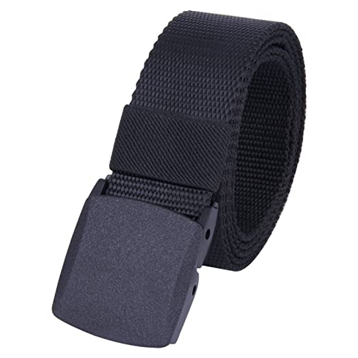 ROFIFY Men Nylon Canvas Military Tactical Style Belt Plastic Buckle Web  Belts 53 quot  Long Black 417ecb4399e