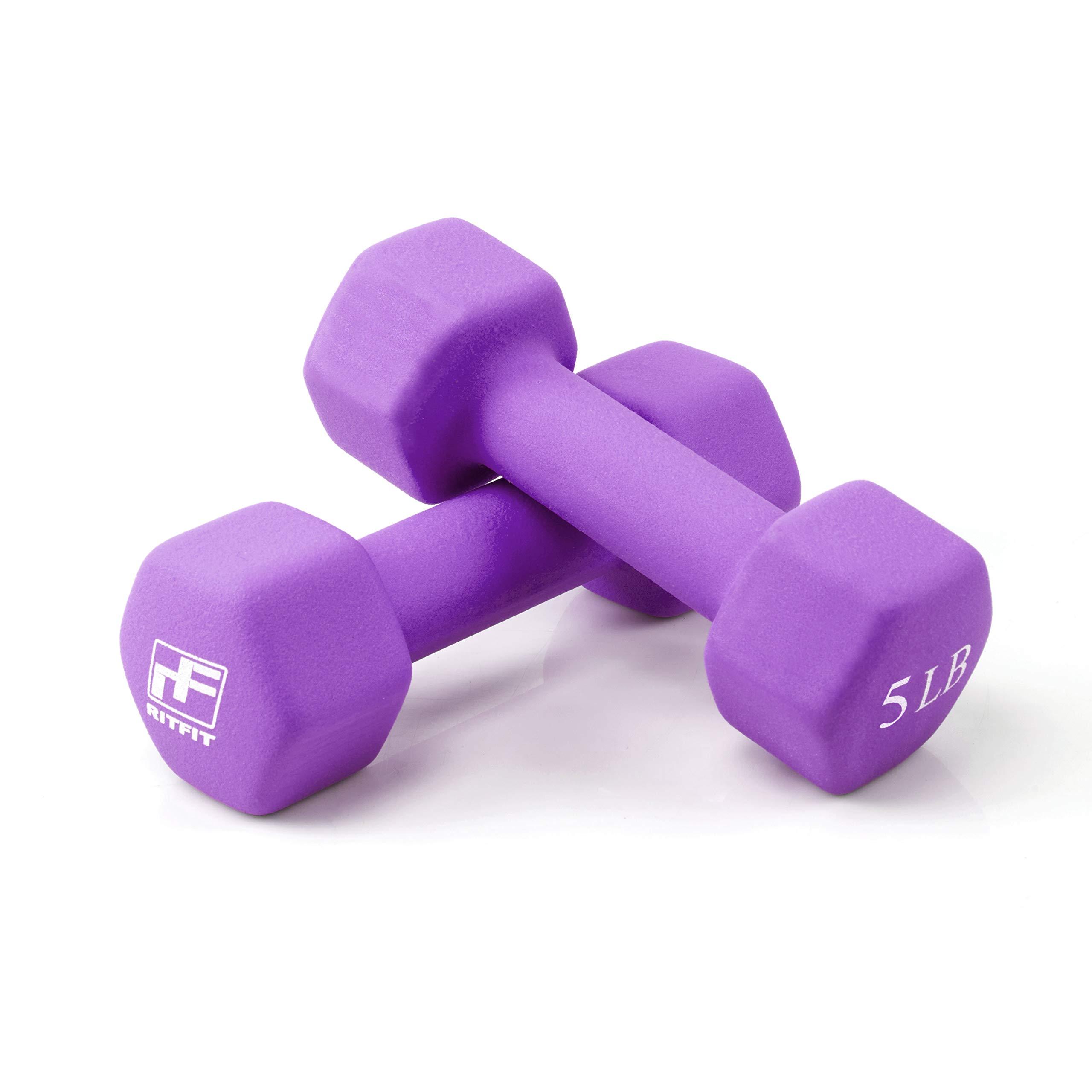 RitFit Set of Two Neoprene Dumbbells Coated for Non-Slip Grip, 1 lb-20 lb (5 Pound(Purple))