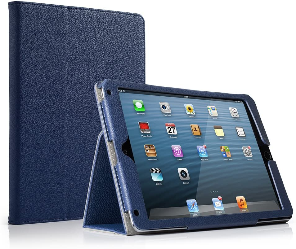 RUBAN Case Compatible with iPad 9.7 Inch 2018/2017/iPad Air 2/iPad Air - [Corner Protection] - [Scratch-Resistant] Premium PU Leather Folio Smart Stand Cover w/Auto Sleep/Wake, Navy Blue
