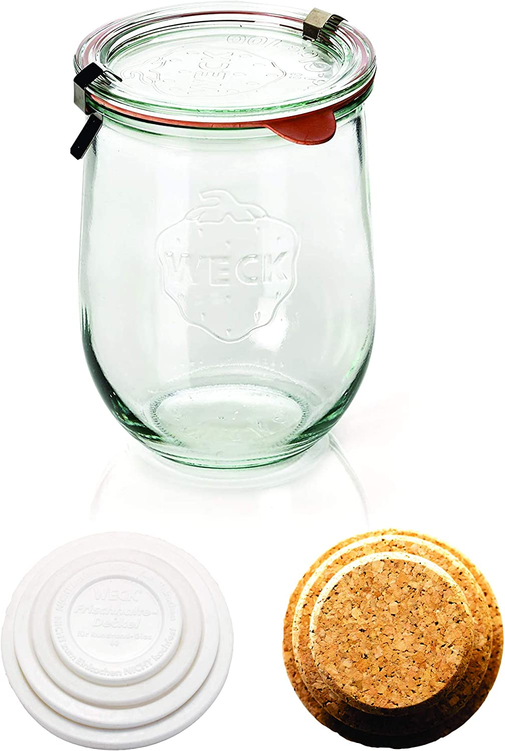 Weck Tulip Jars - Sour Dough Starter Jars - Large Glass Jars for Sourdough - Starter Jar with Glass Lid - Tulip Jar with Wide Mouth - Weck Jars 1 Liter Includes (Cork Lid & Keep Fresh Cover)