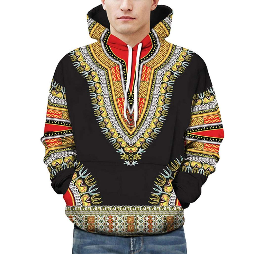 Usstore T-Shirts for Men, African Print Autumn Blouse Hoodie Sweatshirt Top Outwear Usstore T-Shirts for Men
