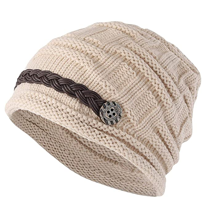 c6b3de615bc YCHY Slouch Women hat Winter Baggy Snowboarding Knit Snow Warm Hat Beanie  Crochet Cap (Beige) at Amazon Women s Clothing store