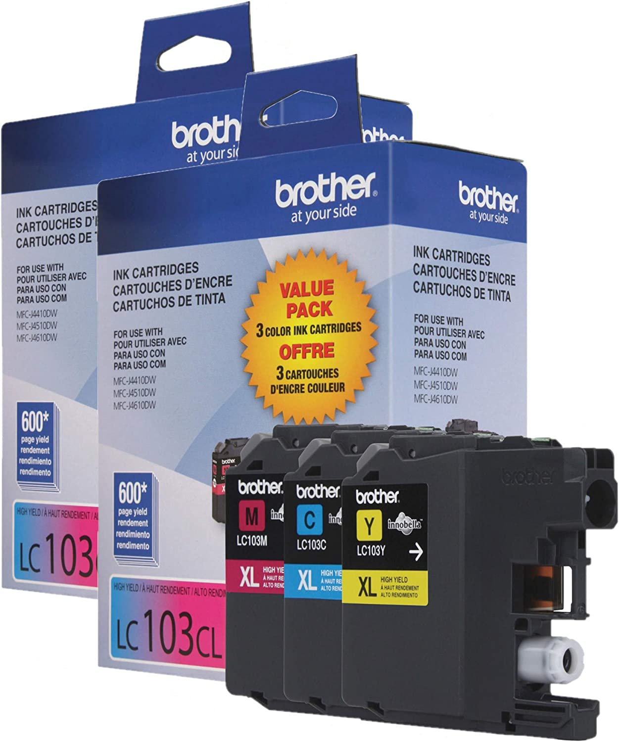 Brother Genuine High Yield Color Ink Cartridge, LC1033PKS, Replacement Color Ink Three Pack, Includes 1 Cartridge Each of Cyan, Magenta & Yellow, Page Yield Up to 600 Pages/Cartridge, LC103 / 2-Count