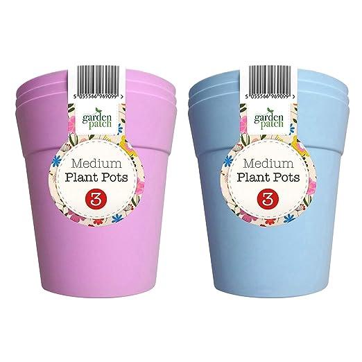 Garden Patch Macetas medianas de plástico para jardín en azul y morado, perfectas para plantas suculentas, cactus y uso interior o exterior (con ebook ...