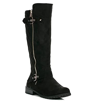 f50986fbaab JJF Shoes Mango-21 Women s Winkle Back Shaft Side Zip Knee High Flat Riding  Boots