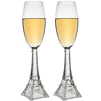 34 2k La Champagne Eiffel Flûtes Chaise Transparent Longue Coupes À 001 De 2 Tour Coffret Verre EY29DHWI
