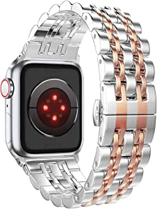 ImmSss Compatible with Apple Watch Bands Series 6 SE 5 4 40mm 44mm / Series 3 2 1 38mm 42mm for Women Men,Rose Gold Stainless Steel Band for iWatch Business Replacement Strap