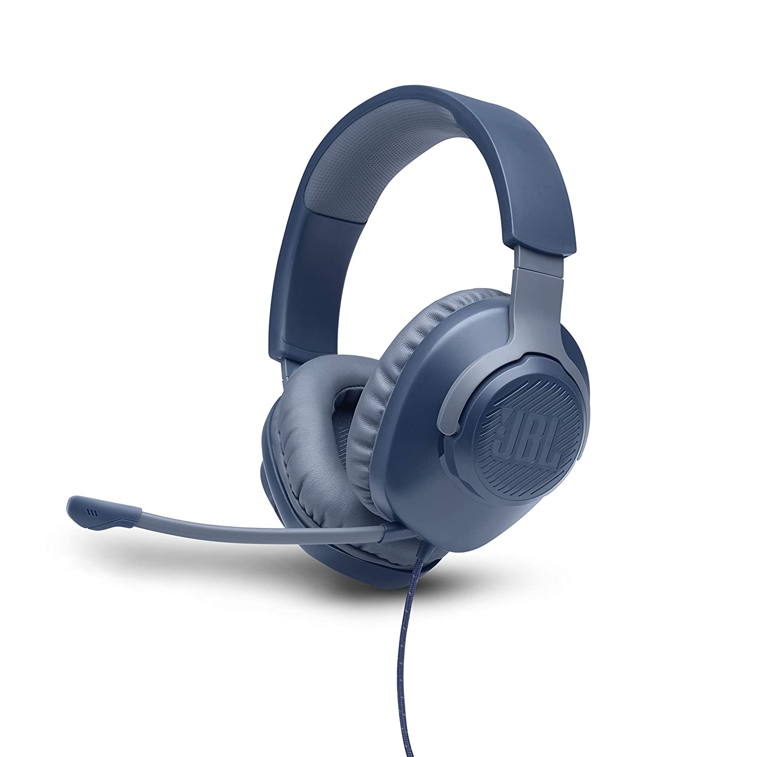 Renewed  JBL Quantum 100 Wired Over Ear Gaming Headset with Detachable Mic  Blue  PC Headsets