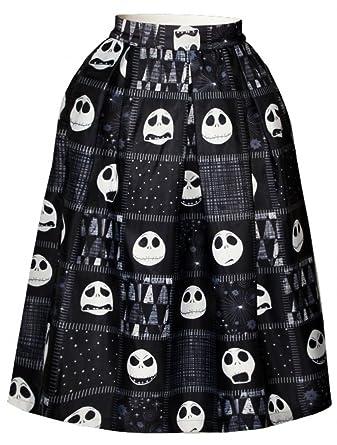 Alaroo Women's Cute Skull Emoji Expression Black Printed Pleated ...