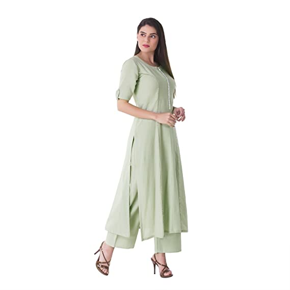 4646cded89 KHUSHAL K Women's Cotton Kurta with Palazzo Pant Set (KK65-Green-S,