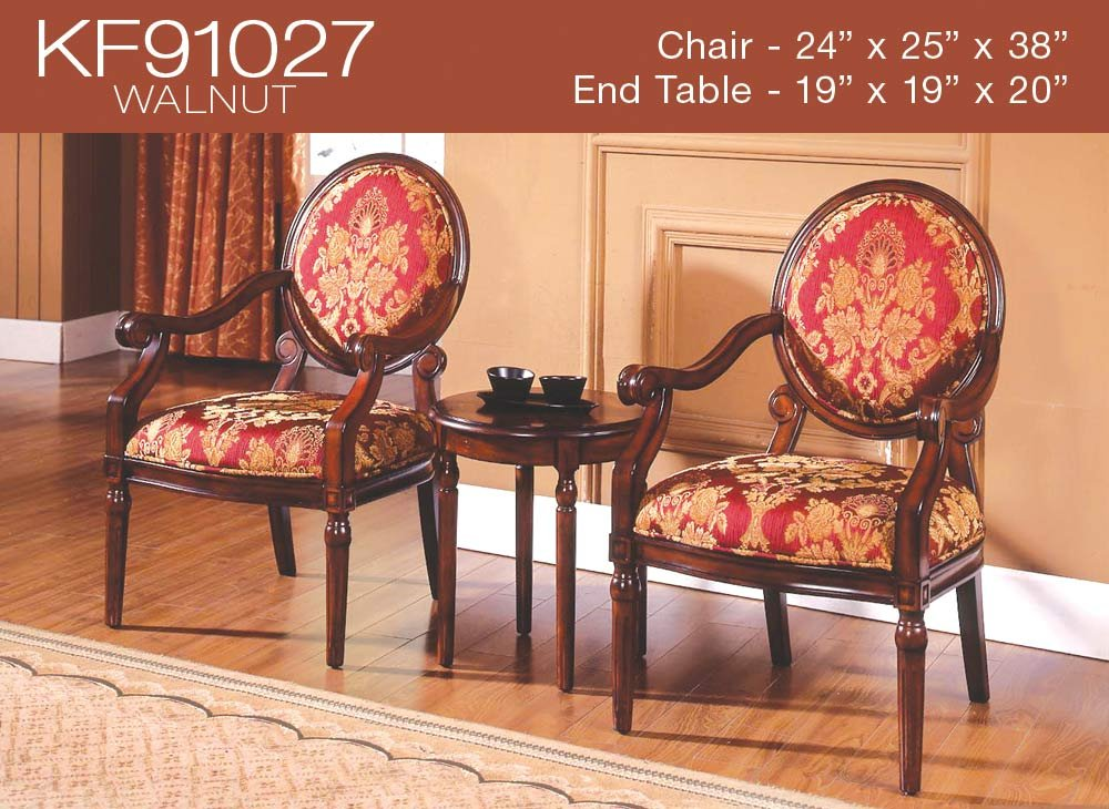 Ordinaire Amazon.com: 3 Pcs Traditional Living Accent Chair Set (2 Colors) (KF91027    Walnut): Kitchen U0026 Dining