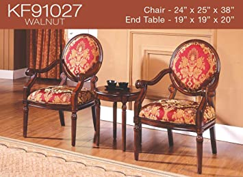 3 Pcs Traditional Living Accent Chair Set (2 Colors) (KF91027   Walnut)