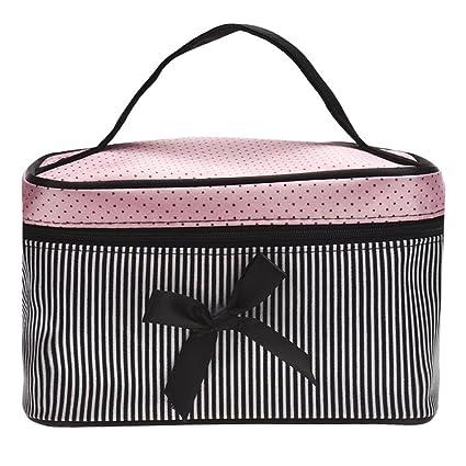 568e02158c1a Creazy® Square Bow Stripe Cosmetic Bag (Black)