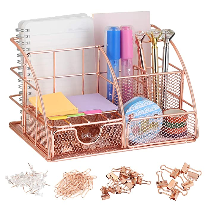 Rose Gold Desk Organizer with Drawer,File Tray and 4 Upright Sections for Pen,Marker,Paper etc, Mesh Metal Multi-Use Stationery Desktop Organizer for Office,School,Home(72pcs Clips Set for Free)