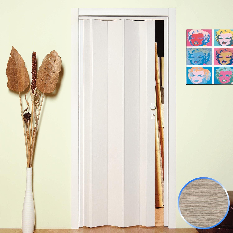 Forte Puerta Plegable de Interior de PVC Blanco Pastel 83x214 cm Mod.Maya