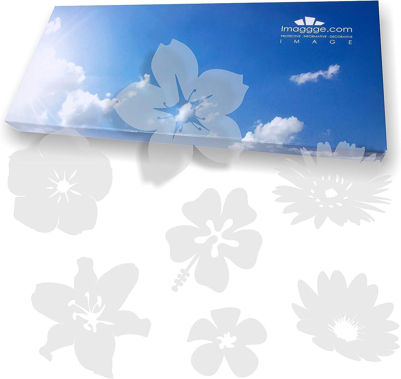 imaggge.com Pegatinas antigolpes para puertas de cristal (18 flores); evitan que las aves o las personas se golpeen contra los cristales.
