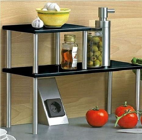 Zweistufiges Küchenregal Regal Küchenablage Küchenleiste Edelstahl Metall H32cm Schwarzsilber