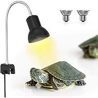 DADYPET Lámpara para Tortuga, UVA de 25W, Dos Basking Iluminación de Calor, Pinza giratoria de 360 Grados y Fuente de…