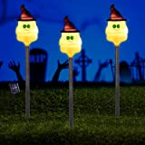 Solar Garden Lights, Set of 3 Outdoor LED Solar Powered Ghost Halloween Pathway Lights Garden Stakes for Outdoor Patio Yard D