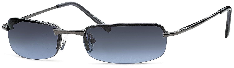 Herren Rechteck- Sonnenbrille Metallbrille mit Federscharnier UV400 Filter- Im Set mit Etui (Gestell: Anthrazit/ Gläser: Grau-Blau verlaufend) zyTUj2