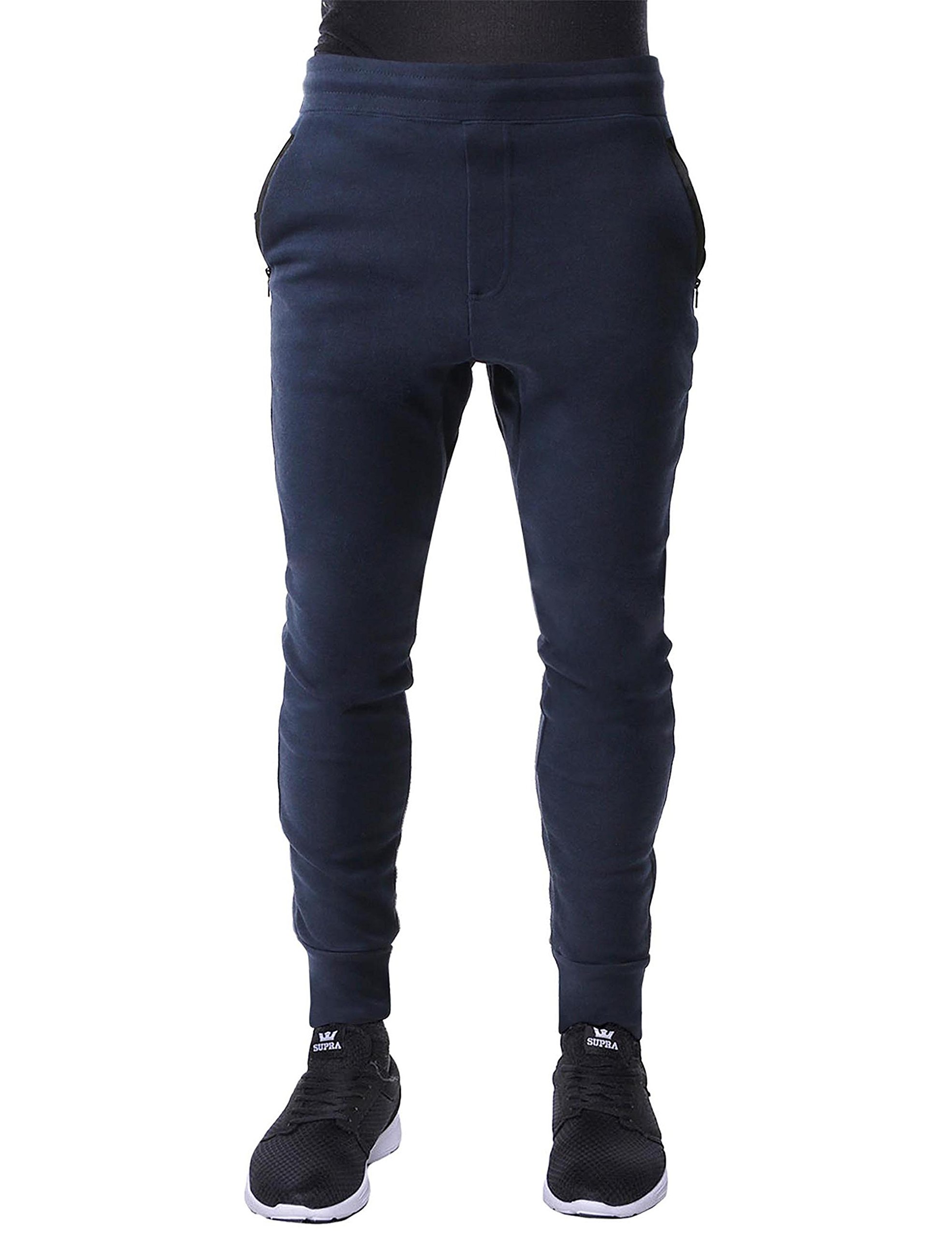 1f8a792004c63b Galleon - Hat And Beyond Mens Fleece Jogger Pants Elastic Active Basic  Urban Harem Slim Fit (Small, IPJ079 Navy)
