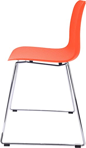 CozyBlock Hebe Series Orange Dining Shell Side Chair Molded Plastic Steel Wire Metal Legs