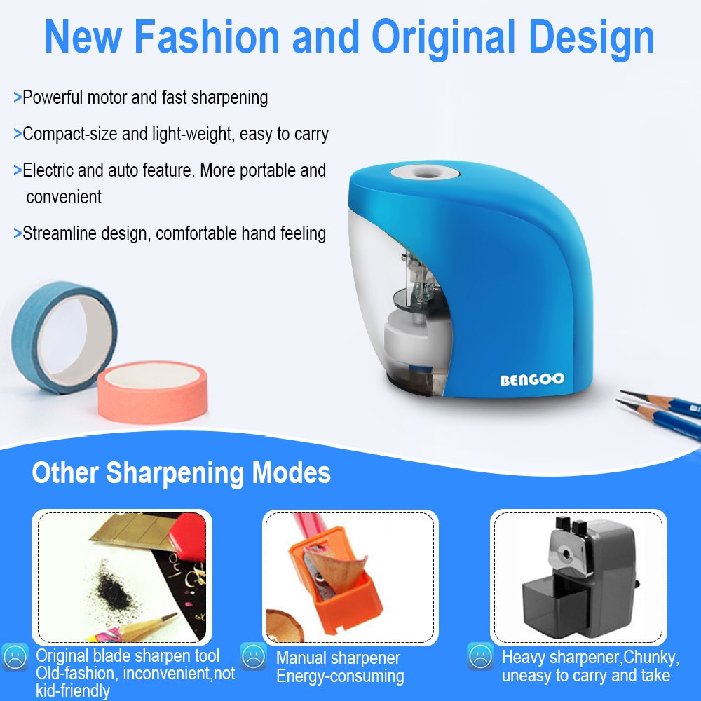 Pencil Sharpener with Auto Feature, BENGOO Electric Durable and Portable Pencil Sharpener for 8mm diameter Pencils, for School Classroom, Home Study, Office Use-Blue (Batteries not included) by BENGOO (Image #6)